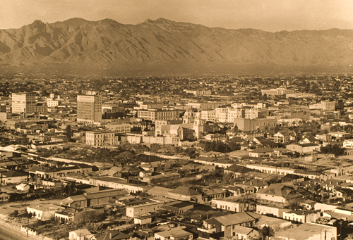 Aerial view of the barrio and la calle pre-urban renewal, circa 1940s. Photo courtesy Arizona Historical Society #1303 (A.E. Magee Collection)