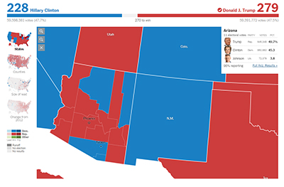 Arizona election results, as shown in the NYT. http://www.nytimes.com/elections/results/president