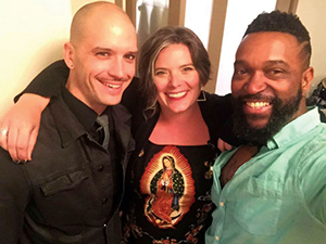 Left to right: Logan Phillips, Kristen Nelson and Roger Bonair-Agard after Logan and Roger's reading at Casa Libre's Fair Weather Reading Series. Photo courtesy Kristen Nelson