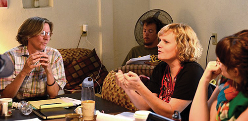 Weekend writing residency led by Rebecca Brown, left; also pictured are Frankie Rollins (center), T.C. Tolbert (background) and Lisa O'Neill (far right). Photo courtesy Kristen Nelson