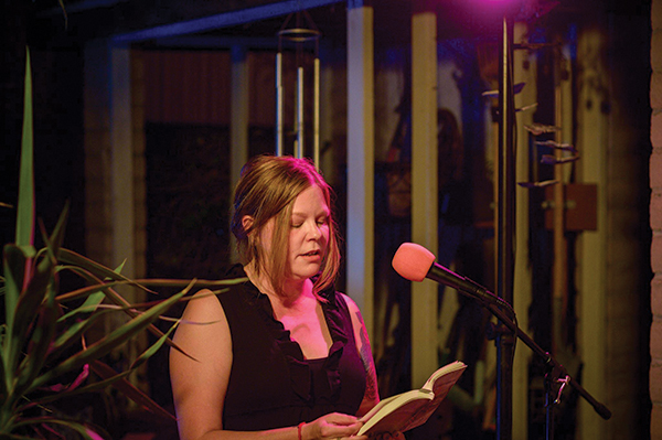 Selah Saterstrom reading at a recent Fair Weather Reading Series event. Photo courtesy Kristen Nelson